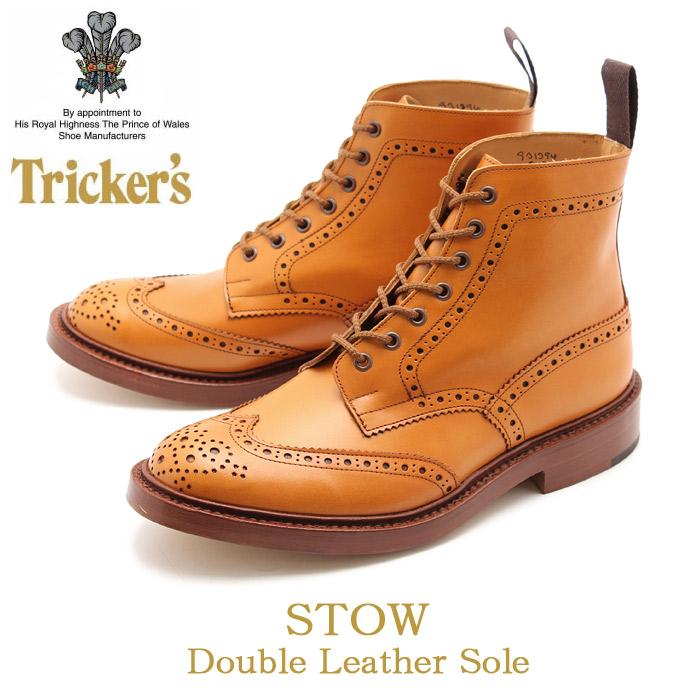 【クーポン配布中】トリッカーズ ブローグブーツ ストウ ダブルレザーソール ライトブラウン (TRICKER'S BROGUE BOOTS STOW DOUBLE LEATHER) カントリー ウィングチップ ウイング カジュアル シューズ 革靴 メンズ 男性 誕生日 結婚祝い