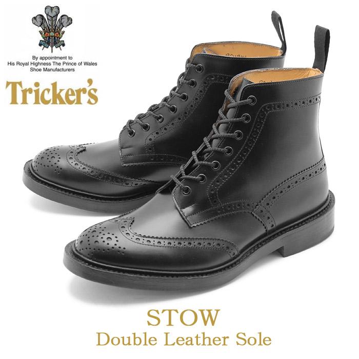 トリッカーズ ブローグブーツ ストウ ダブルレザーソール ブラック (TRICKER'S BROGUE BOOTS STOW DOUBLE LEATHER) カントリー ウィングチップ ウイング カジュアル シューズ 革靴 メンズ 男性 誕生日 結婚祝い