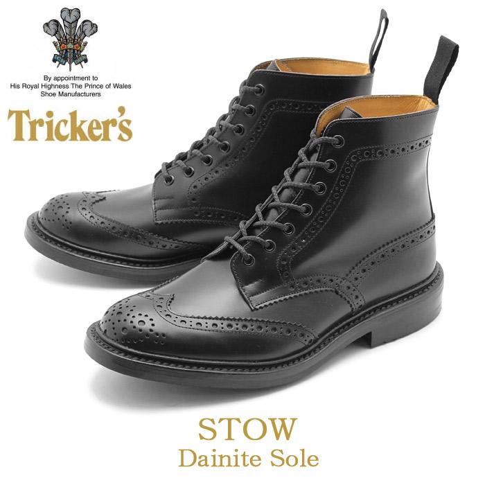 トリッカーズ ブローグブーツ ストウ ダイナイトソール ブラック (TRICKER'S BROGUE BOOTS STOW DAINITE) カントリー ウィングチップ ウイング カジュアル シューズ 革靴 メンズ 男性 誕生日プレゼント 結婚祝い ギフト おしゃれ