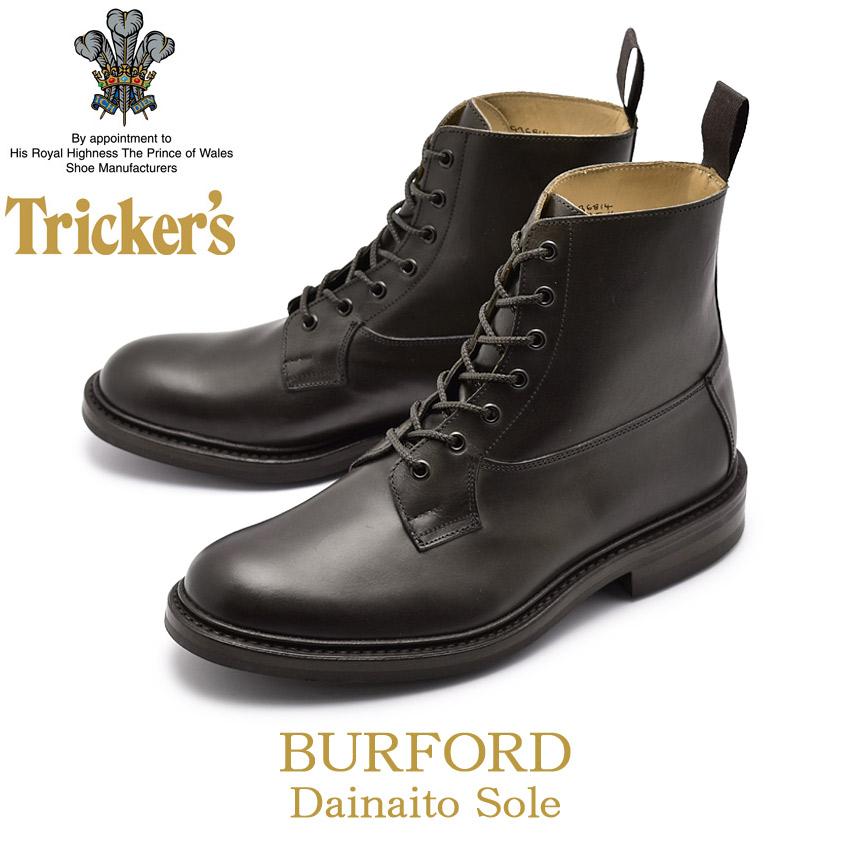 TRICKER'S トリッカーズ カジュアルシューズ ブラック バーフォード BURFORD 5635/4 黒 ブーツ レザー 革 レースアップ カントリー ドレスブーツ メンズ 男性用