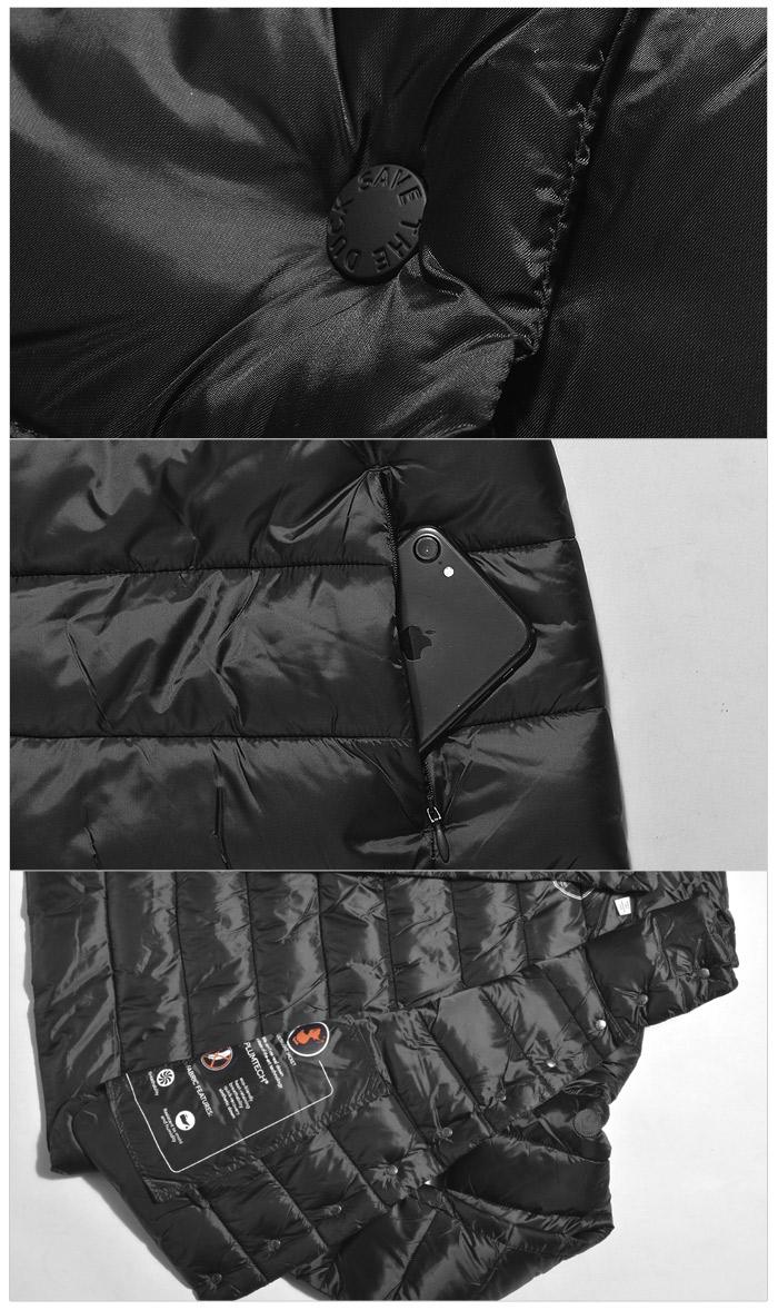 セイブ ザ ダック アイリス 5 ジャケット (save the duck iris5 jacket S3652W) 軽量 冬 防寒 保温 暖かい カジュアル 長袖 アウター コート トラベル ウェア ダウン 黒 グレー レディース 女性 ギフト 内祝い 誕生日 結婚祝い
