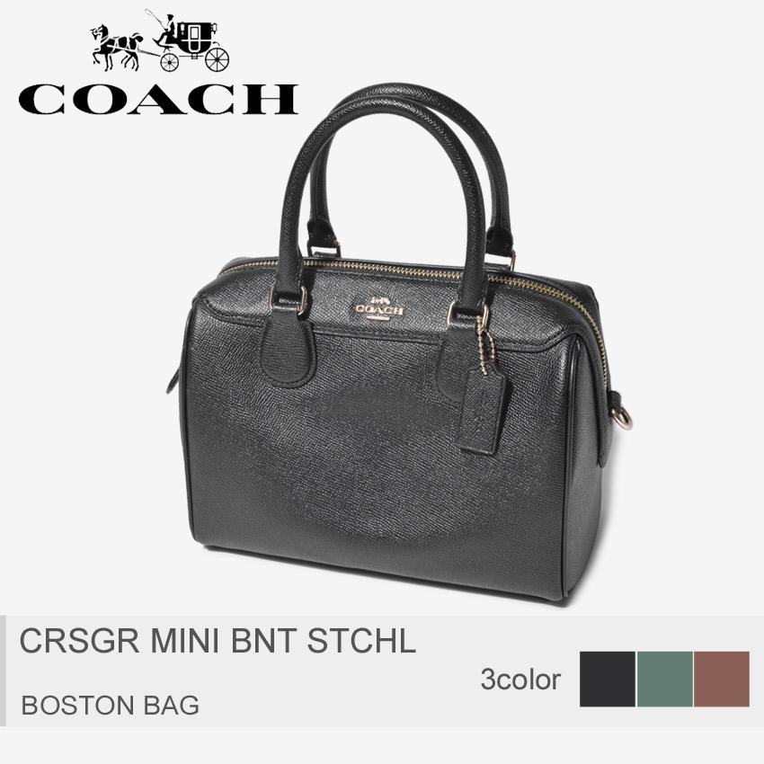 COACH コーチ ボストンバッグ ハンドバッグ 鞄 ブラック 黒 CRSGR MINI BNT STCHL F32202 IMBLK IMM7Q IMEB0 レザー シンプル ショルダー 2way 肩掛け レディース 誕生日 プレゼント ギフト