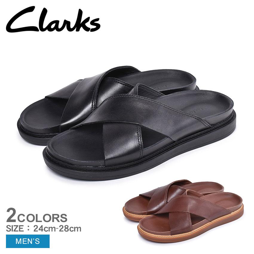CLARKS クラークス サンダル トレース クロス メンズ ブラック TRACE CROSS コンフォート ベルト カジュアル レザー 本革 シューズ 靴 26141969 26141959