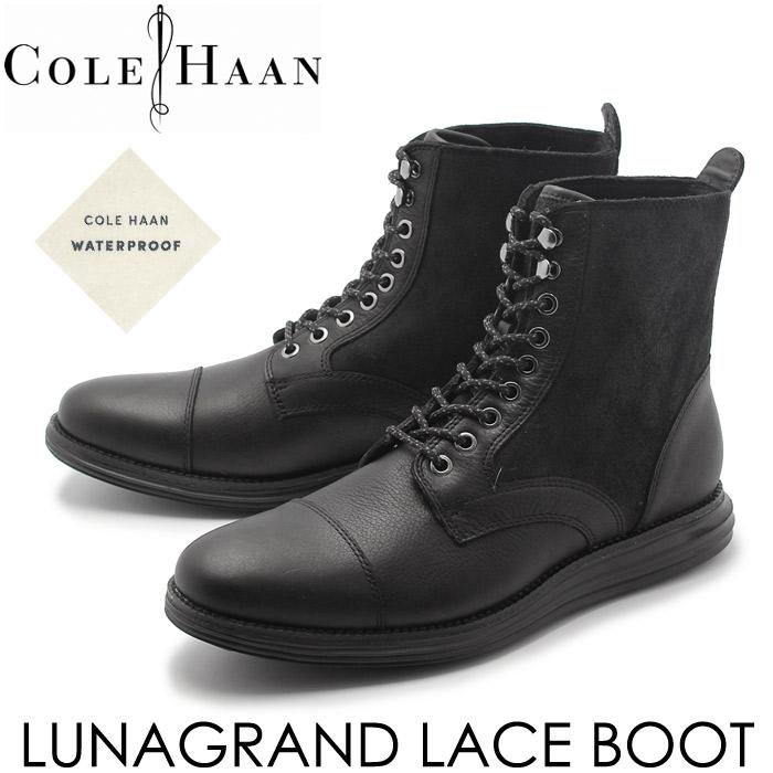 送料無料 コールハーン ルナグランド レース ブーツ ウォータープルーフ ブラック (COLE HAAN C20185 LUNARGRAND LACE BOOT WEATHERPROOF)メンズ(男性用) 革靴 レザーシューズ 本革