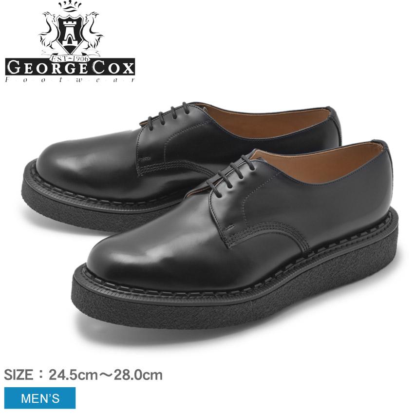GEORGECOX ジョージコックス ラバーソール ブラック 14669 V GIBSON メンズ シンプル クリーパーソール ロック パンク ロカビリー シューズ 靴 天然皮革 本革 カジュアルシューズ レースアップ ドレスシューズ 厚底 黒