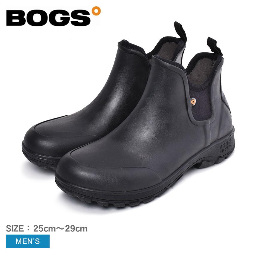 BOGS ボグス ブーツ SAUVIE SLIP ON BOOT 72208 メンズ ハイカット 防水 防滑 ワークブーツ ウォータープルーフ シューズ ブランド カジュアル ラバー 黒 ブラック 履きやすい クッション