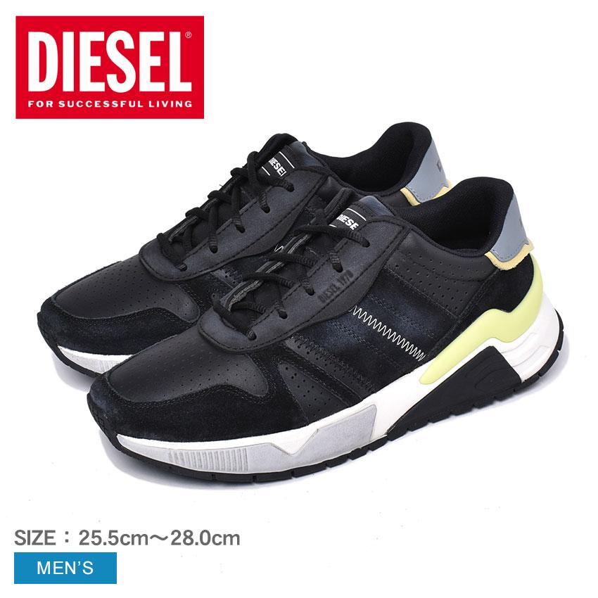 ディーゼル 靴 スニーカー メンズ ブラック 黒 ローカット DIESEL S-BRENTHA FLOW Y02111-P2897 ブランド カジュアル スポーティ レザー 靴 黒 おしゃれ
