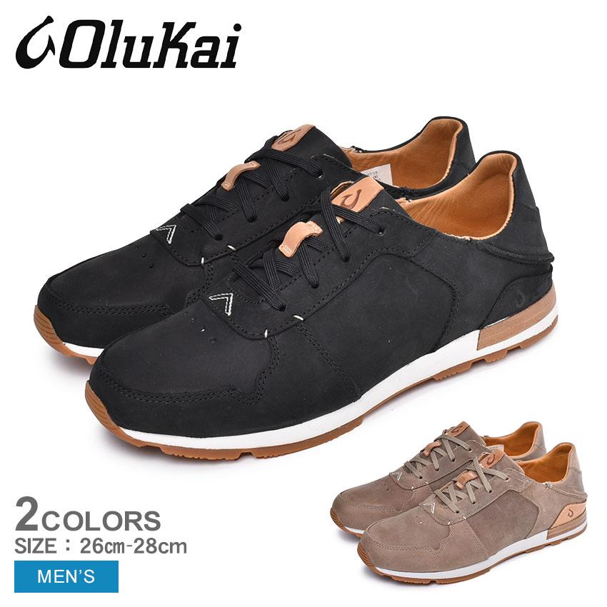 OLUKAI オルカイ スニーカー HUAKA'I LI 10406 メンズ カジュアルシューズ ハワイ 靴 シューズ レースアップ おしゃれ カジュアル シンプル 履きやすい 歩きやすい レザー 通勤 通学 黒 ベージュ