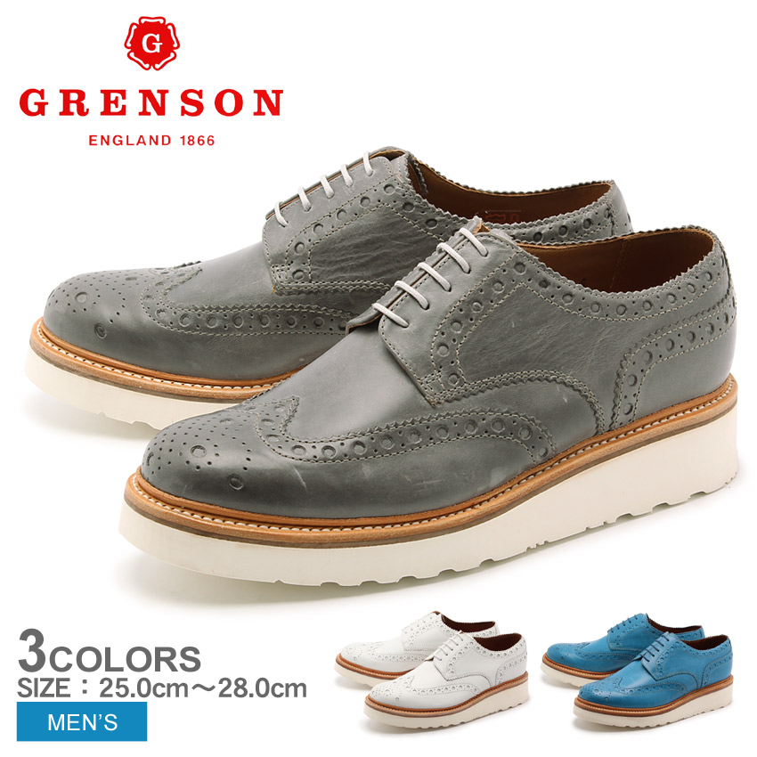 グレンソン GRENSON アーチー V グレー ホワイト ブルー 全3色 GRENSON 5067-03V 04V 06V ARCHIE メンズ 短靴 エクストラライトソール ウイングチップ
