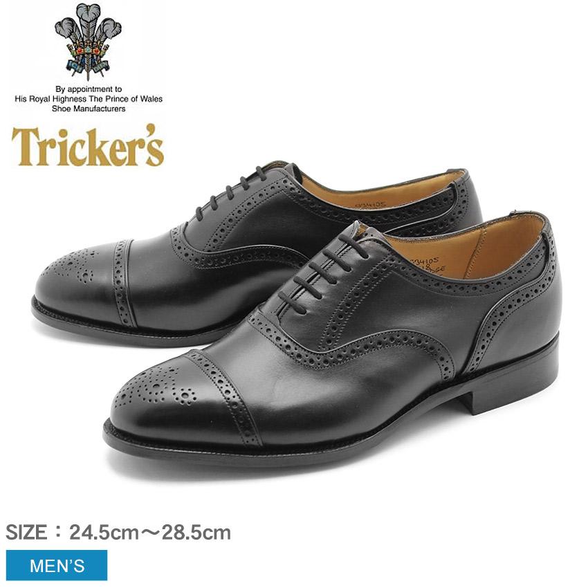 トリッカーズ TRICKER'S CAMBRIDGE シングルレザーソール ブラックカーフ ストレートチップ TRICKERS (TRICKER'S 9518) カジュアルシューズ 短靴 革靴 メンズ