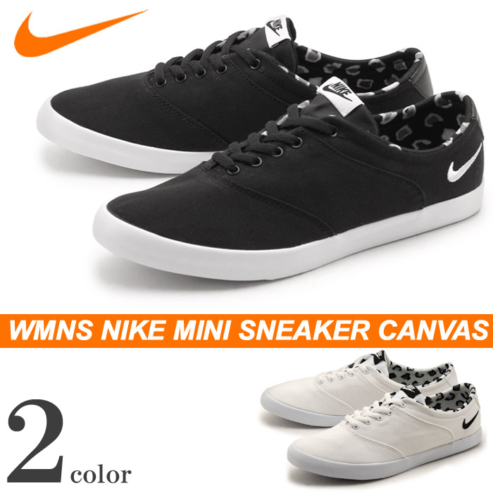 Nike NIKE sneakers mini sneaker canvas lace black x white other total  twocolor 724747 705342 019 100 WMNS NIKE MINI SNEAKER CANVAS LACE womens  casual