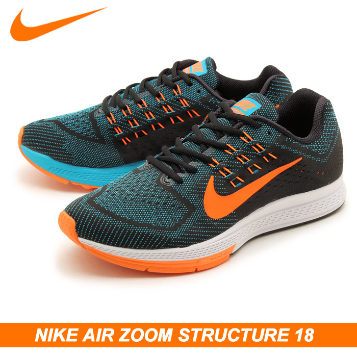 Running shoes men's Nike Air Zoom structure 18 Blue Lagoon × total orange (STRUCTURE  AIR ZOOM, NIKE 683731 408 18) men's low-cut running (for men)