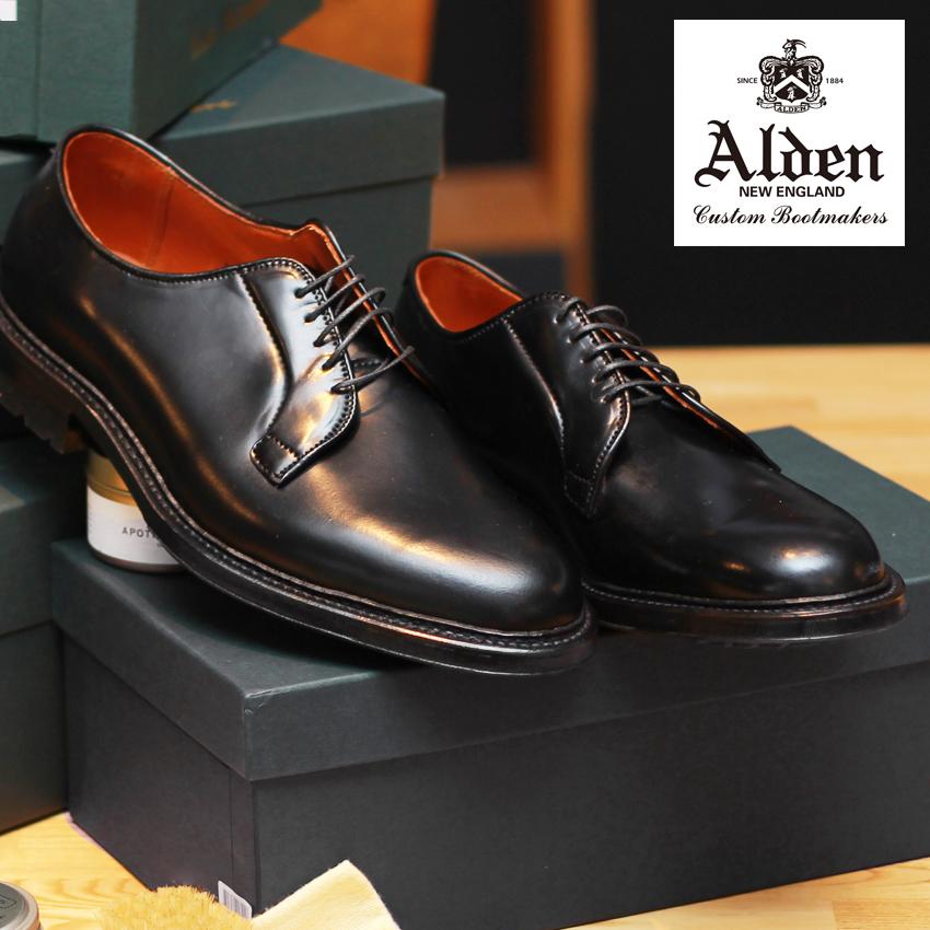 オールデン ドレスシューズ 紳士靴 メンズ 本革 ALDEN コマンド アウトソール コードバン COMMANDO OUTSOLE CORDOVAN 9901C ブランド シューズ トラディショナル ビジネス フォーマル 馬革 革靴 靴 紳士靴 黒 通勤 通学 会社員 大人 高級靴