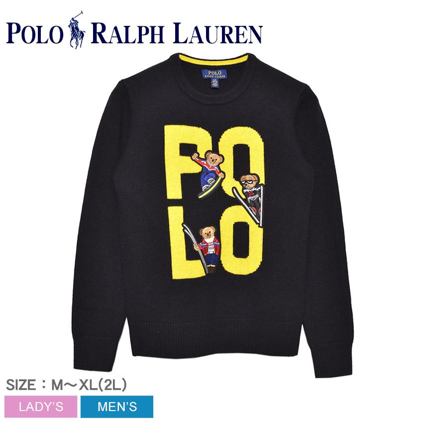 POLO RALPH LAUREN ポロ ラルフローレン セーター メンズ レディース ブラック ポロベア メリノウール 長袖セーター 323760324 カジュアル スウェット トップス ウェア 部屋着 ベアー 刺繍 ブランド 長袖 クマ
