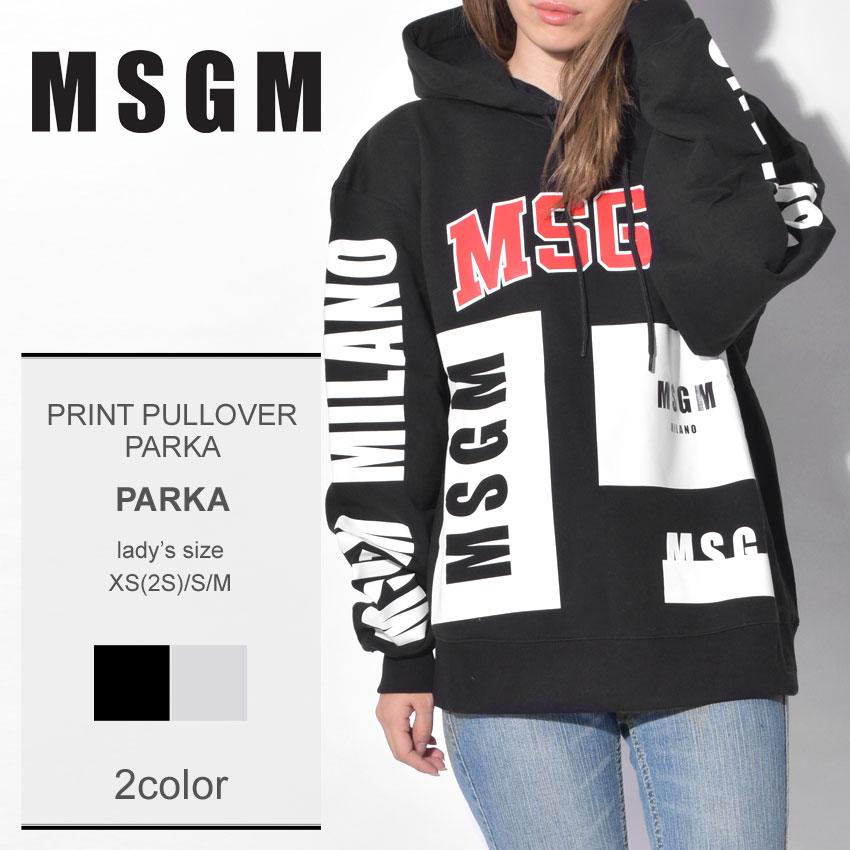 MSGM エムエスジーエム パーカープリント プルオーバー パーカー PRINT PULLOVER PARKA2541MDM103 99 94 レディース