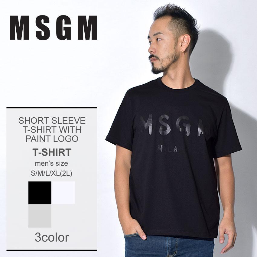 【メール便可】 MSGM エムエスジーエム Tシャツショートスリーブ Tシャツ ウィズ ペイント ロゴ SHORT SLEEVE T-SHIRT WITH PAINT LOGO2540MM97 184798 99 01 94 メンズ アウトドア
