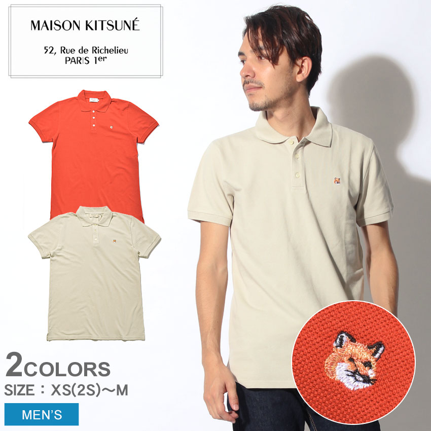 【メール便可】 送料無料 MAISON KITSUNE メゾンキツネ 半袖ポロシャツ 全2色ポロ フォックス ヘッド エンブロイダリー POLO FOX HEAD EMBROIDERYAM00203AT1506 RU GE メンズ