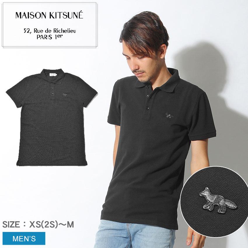 【メール便可】 MAISON KITSUNE メゾンキツネ 半袖ポロシャツ ブラックポロ ブラック フォックス パッチ POLO BLACK FOX PATCHAM00201AT1506 BK メンズ