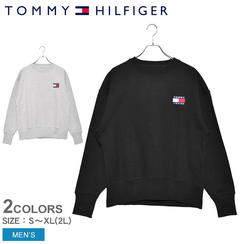 TOMMY HILFIGER トミーヒルフィガー スウェット メンズ ヘビーウェイトニット コンフォートフィット スウェットシャツ DM0DM06592 ウェア トップス 裏起毛 スエット シンプル トレーナー 黒 グレー 暖かい おしゃれ プレゼント TOMMY JEANS
