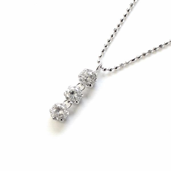 ★ポイント7.5倍★天然ダイヤモンド 0.5ct スリーストーンペンダント【代引不可】