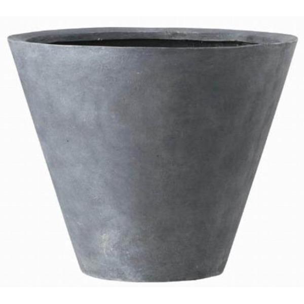 軽量植木鉢/プランター 【深型 グレー 直径40cm】 穴有 ファイバー製 『LLシンプルコーン』