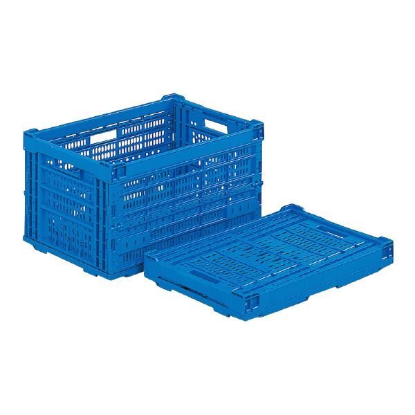 (業務用5個セット)三甲(サンコー) 折りたたみコンテナボックス/オリコン 【65L】 プラスチック製 P66A ブルー(青) 【代引不可】
