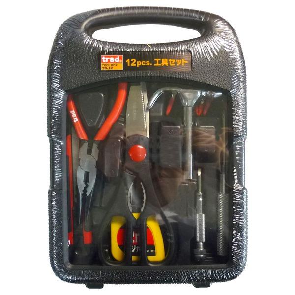 使用頻度の高い工具12種をセットアップ ツールボックス (業務用20セット)TRAD 工具セット/作業工具 【12個入】 TS-12 〔業務用/家庭用/DIY/日曜大工〕