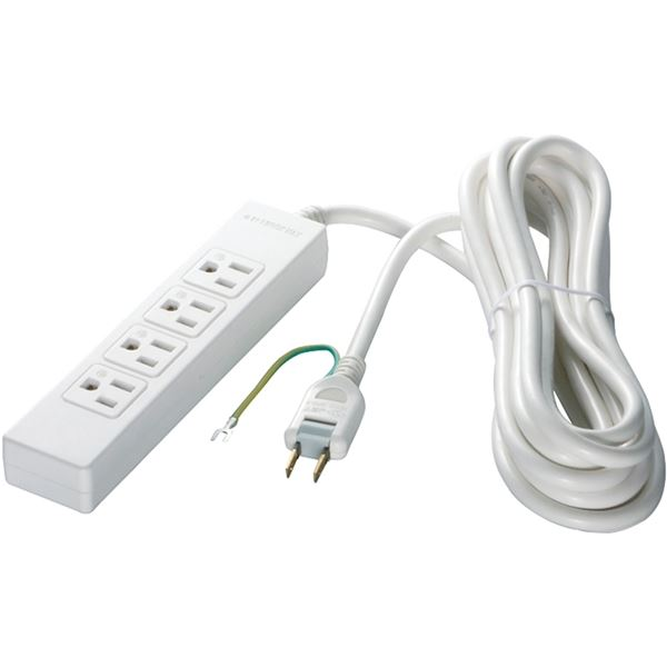 バッファロー(サプライ) 3ピン式電源タップ 4個口タイプ マグネット付 2m ホワイト BSTAPMG3420WH:雑貨のお店 ザッカル