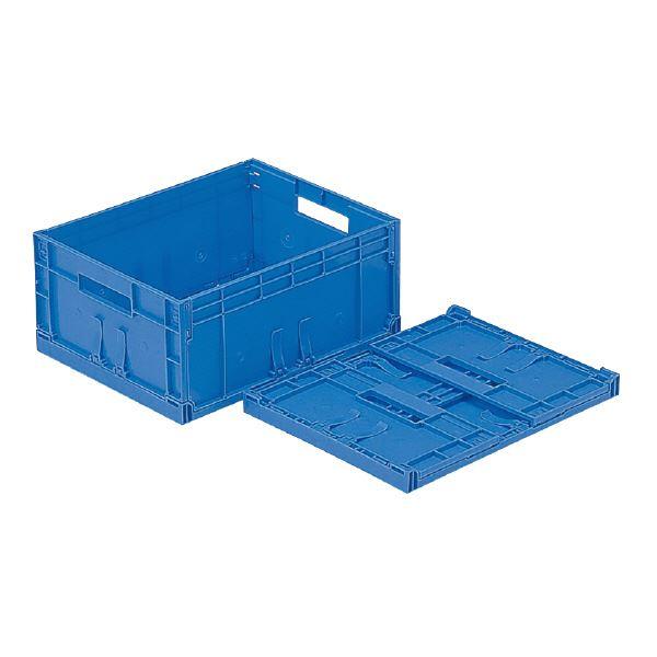 (業務用10個セット)三甲(サンコー) F-Box(折りたたみコンテナボックス/オリコン) 内倒れ方式 112 無地 ブルー(青) 【代引不可】
