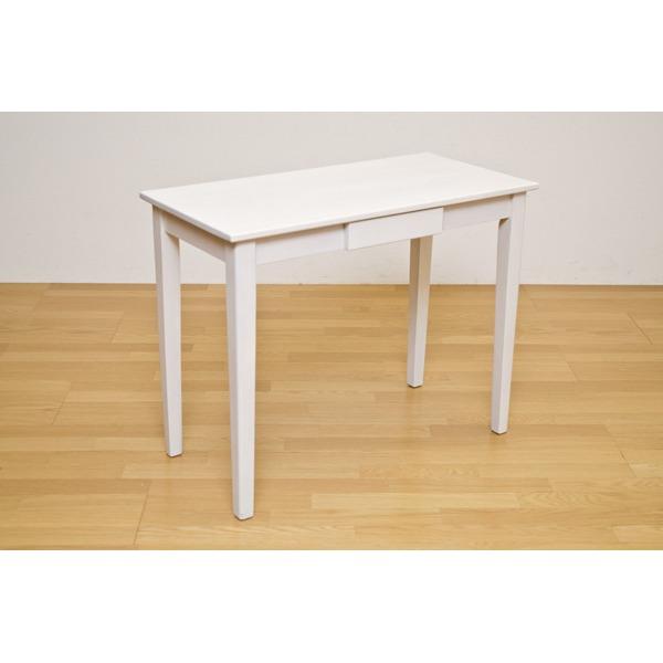 木製テーブル 【長方形 90cm×45cm】 引出し1杯付き ホワイトウォッシュ 木目調 〔リビング/ダイニング/作業台〕【代引不可】