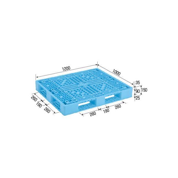 三甲(サンコー) プラスチックパレット/プラパレ 【片面使用型】 D4-1012-11 ライトブルー(青)【代引不可】