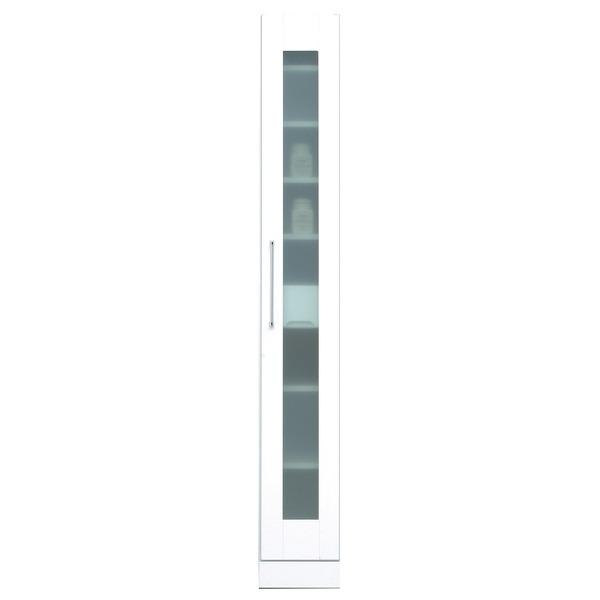 スリムタイプ食器棚/キッチン収納 幅25cm 飛散防止加工ガラス使用 移動棚付き 日本製 ホワイト(白) 【完成品】【開梱設置】【代引不可】