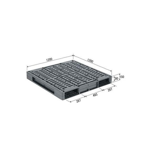 三甲(サンコー) プラスチックパレット/プラパレ 【両面使用型】 段積み可 R-1212 グレー(灰)【代引不可】