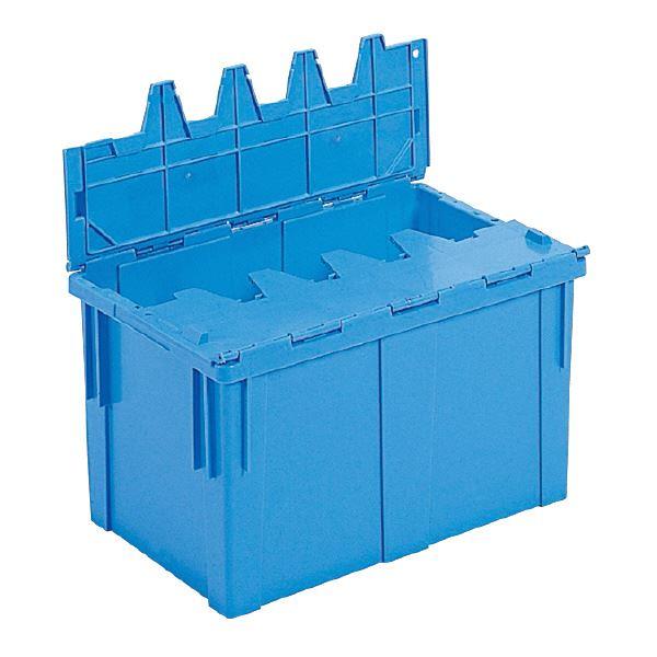 (業務用10個セット)三甲(サンコー) フタ一体型コンテナボックス(重要書類搬送用/サンクレット) #50 F ブルー(青) 【代引不可】