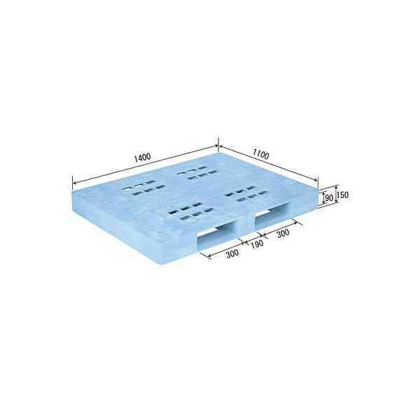 三甲(サンコー) プラスチックパレット/プラパレ 【片面使用型】 軽量 D-1114F ライトブルー(青)【代引不可】