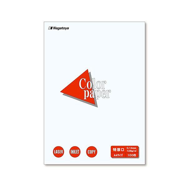 (まとめ) 長門屋商店 Color Paper A4 特厚口 白 ナ-3401V 1冊(100枚) 【×10セット】