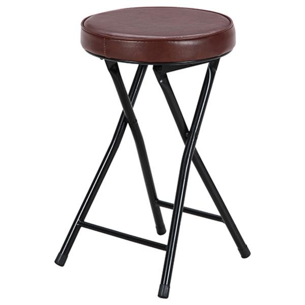 折りたたみ椅子/スツール 【丸型 ブラック×ブラウン】 幅32cm コンパクト 【6個セット】【代引不可】