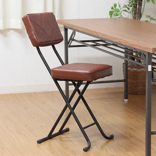 折りたたみ椅子/フォールディングチェア 【ブラウン】 コンパクト 『KIRTO キルト』 【4個セット】【代引不可】