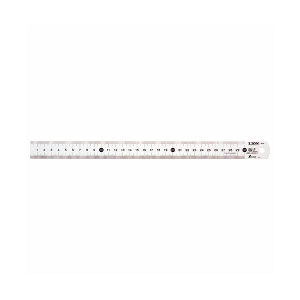 用紙サイズ目盛り付のステンレス定規。 (まとめ) ライオン事務器 ステンレス直線定規60cm S-60 1本 【×10セット】