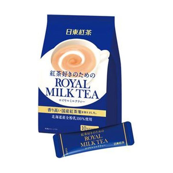 お湯を注ぐだけで贅沢な香りとまろやかな味わい。香り高い国産紅茶葉を配合。北海道産全粉乳100%使用。 (まとめ)日東紅茶 ロイヤルミルクティースティック 14g 1パック(10本)【×50セット】