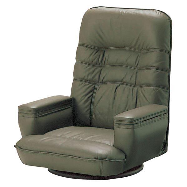 SPR-本革収納付 座椅子 フロアチェア ブラウン 【完成品】