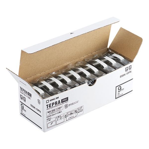 発売モデル キングジム PROテープ 代引き不可 SS9K-10PN 白に黒文字9mm10個