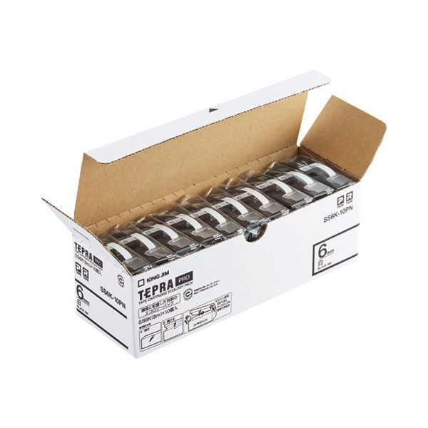 キングジム PROテープ SS6K-10PN 蔵 休み 白に黒文字6mm10個