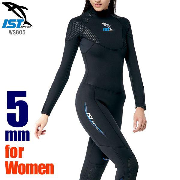ウェットスーツ レディース 5mm フルスーツ ダイビング ジャンプスーツ 女性用保温 ISTPROLINE WS805/W BK(ブラック) サイズ:9