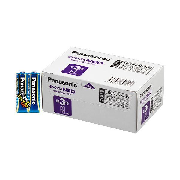 (まとめ)パナソニック アルカリ乾電池EVOLTAネオ 単3形 LR6NJN/40S 1箱(40本)【×3セット】
