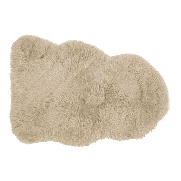 ニュージーランド産 天然ムートンの1匹 ラグマット 【約60×90cm ブラウン】 表面:羊毛皮100% 吸水性 放湿性 『M-511-F』【代引不可】