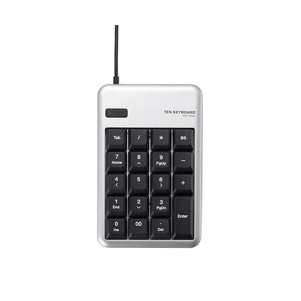 マウスなどのUSB機器を2台まで接続可能! (まとめ) エレコム テンキーパッド メンブレンUSB2.0ハブ付 シルバー TK-TCM012SV 1個 【×10セット】