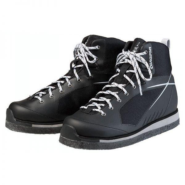 軽量 登山靴/トレッキングシューズ 【ブラック 23.0cm】 日本製フェルトソール 合皮/合成皮革 『渓流 ケイリュウ KR_5F』