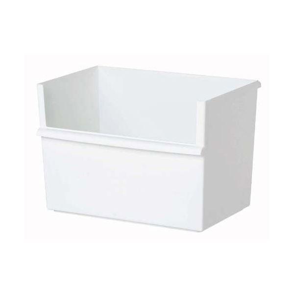 (まとめ)収納ボックス KEEP・IT コンテナーワイド 深 ホワイト ( 野菜ストッカー ) 【10個セット】