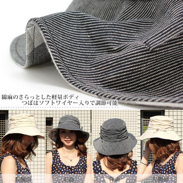 319f6bb5ea7 Actress Cap ladies Hat brim wide ladies UV measures folding compact HAT  Ribbon spring summer cotton linen striped rib wide hat.